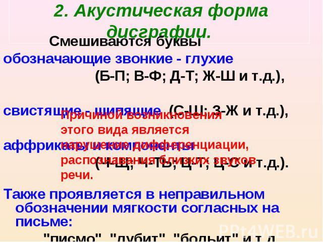 2. Акустическая форма дисграфии. Смешиваются буквы обозначающие звонкие - глухие (Б-П; В-Ф; Д-Т; Ж-Ш и т.д.), свистящие - шипящие (С-Ш; З-Ж и т.д.), аффрикаты и компоненты (Ч-Щ; Ч-ТЬ; Ц-Т; Ц-С и т.д.). Также проявляется в неправильном обозначении мя…