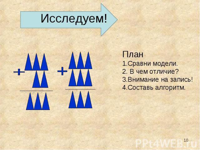 Исследуем! План 1.Сравни модели. 2. В чем отличие? 3.Внимание на запись! 4.Составь алгоритм.
