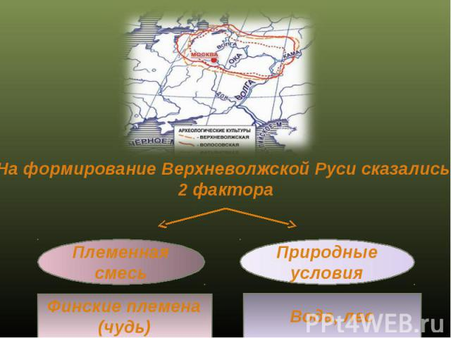 На формирование Верхневолжской Руси сказались 2 фактора Племенная смесь Природные условия Финские племена (чудь) Вода, лес