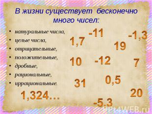 В жизни существует бесконечно много чисел: натуральные числа, целые числа, отриц