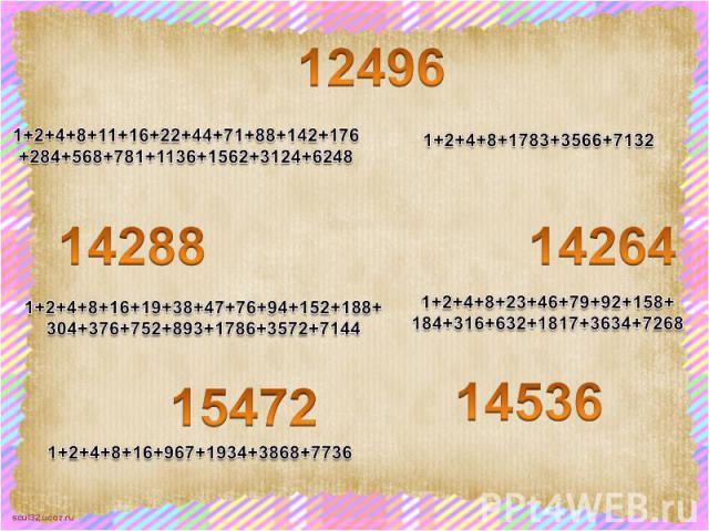 1+2+4+8+11+16+22+44+71+88+142+176 +284+568+781+1136+1562+3124+6248 1+2+4+8+16+19+38+47+76+94+152+188+ 304+376+752+893+1786+3572+7144 1+2+4+8+23+46+79+92+158+ 184+316+632+1817+3634+7268