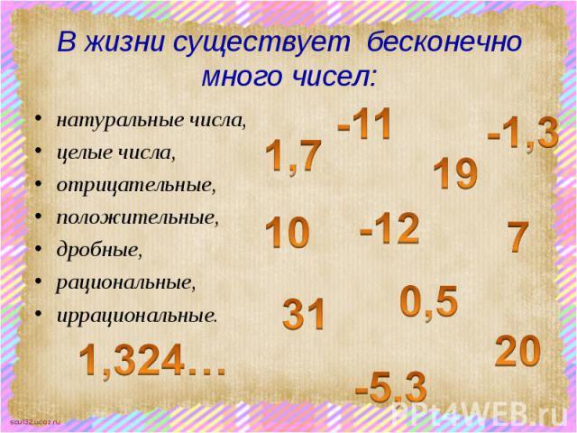 В жизни существует бесконечно много чисел: натуральные числа, целые числа, отрицательные, положительные, дробные, рациональные, иррациональные.