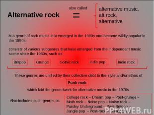 Alternative rock alternative music, alt rock, alternative is a genre of rock mus