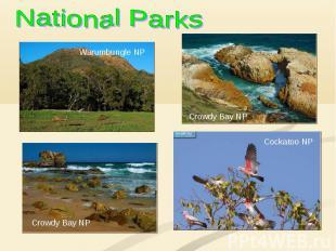 National Parks Warumbungle NP Crowdy Bay NP Crowdy Bay NP Cockatoo NP