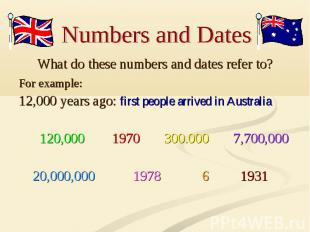 Numbers and Dates What do these numbers and dates refer to? For example: 12,000