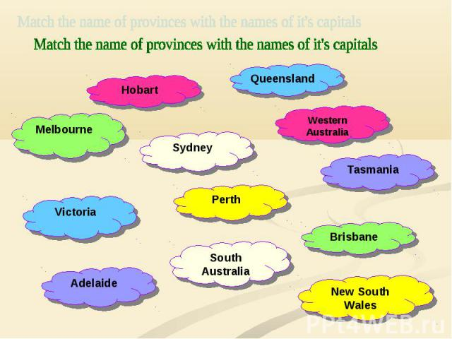 Match the name of provinces with the names of it's capitals