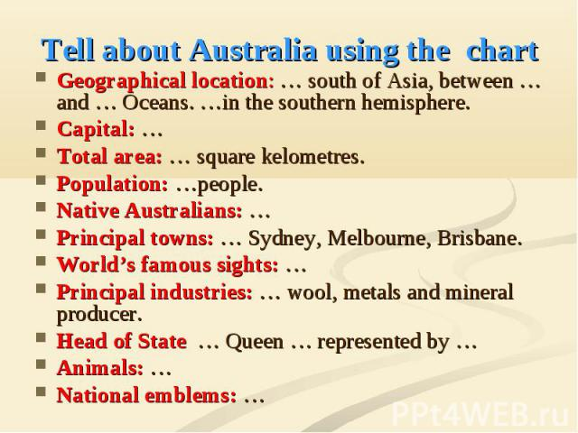 Tell about Australia using the chart Geographical location: … south of Asia, between … and … Oceans. …in the southern hemisphere. Capital: … Total area: … square kelometres. Population: …people. Native Australians: … Principal towns: … Sydney, Melbo…