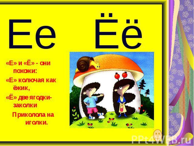 «Е» и «Ё» - они похожи: «Е» колючая как ёжик, «Ё» две ягодки-заколки Приколола на иголки.