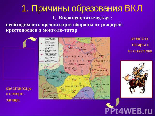 1. Причины образования ВКЛ 1. Внешнеполитическая : необходимость организации обороны от рыцарей-крестоносцев и монголо-татар крестоносцы с северо- запада монголо- татары с юго-востока