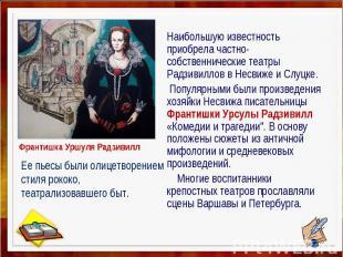 Наибольшую известность приобрела частно-собственнические театры Радзивиллов в Не