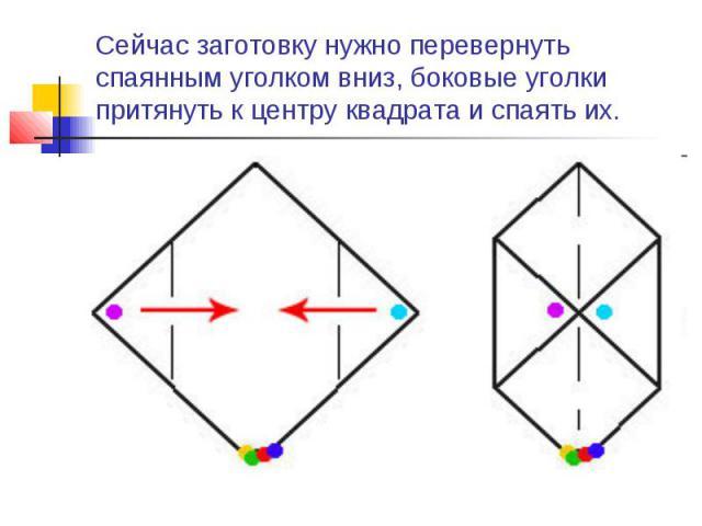 Сейчас заготовку нужно перевернуть спаянным уголком вниз, боковые уголки притянуть к центру квадрата и спаять их.