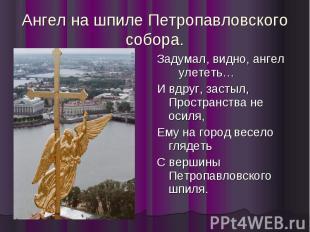 Ангел на шпиле Петропавловского собора. Задумал, видно, ангел улететь… И вдруг,