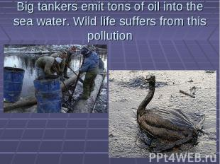 Big tankers emit tons of oil into the sea water. Wild life suffers from this pol