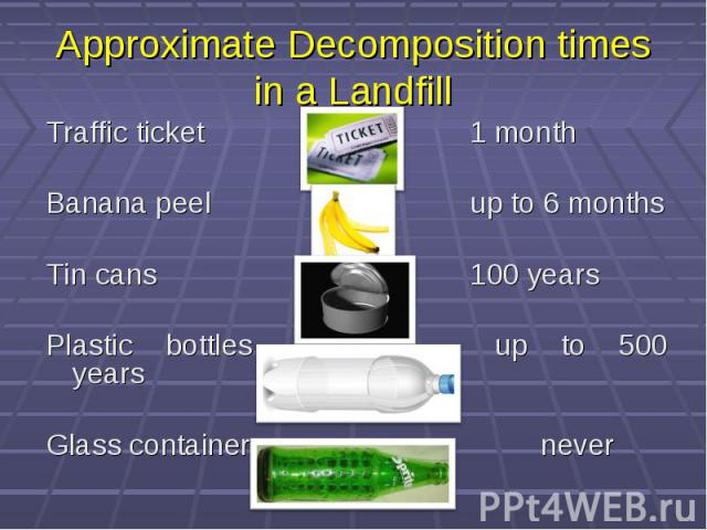 Approximate Decomposition times in a Landfill Traffic ticket 1 month Banana peel up to 6 months Tin cans 100 years Plastic bottles up to 500 years Glass containers never