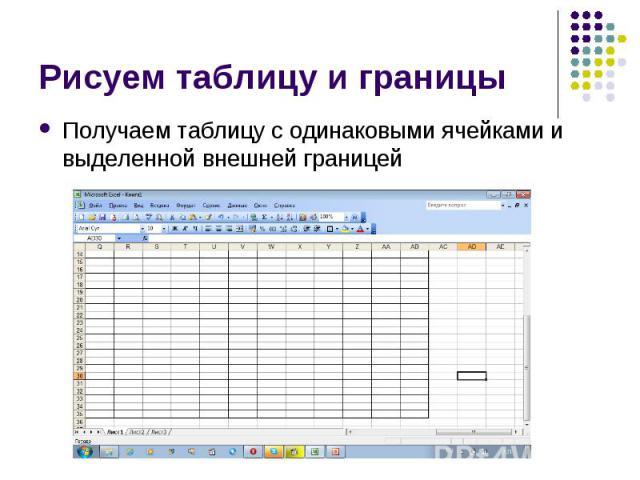 Рисуем таблицу и границыПолучаем таблицу с одинаковыми ячейками и выделенной внешней границей