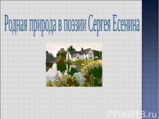 Родная природа в поэзии Сергея Есенина