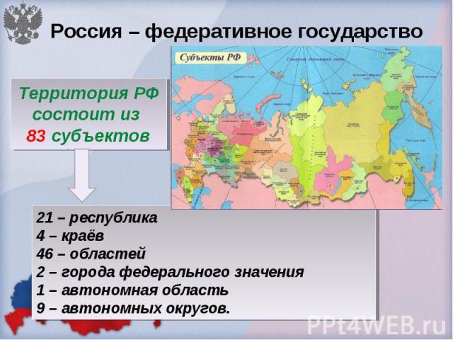 Россия – федеративное государство Территория РФ состоит из 83 субъектов 21 – республика 4 – краёв 46 – областей 2 – города федерального значения 1 – автономная область 9 – автономных округов.
