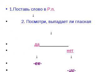 1.Поставь слово в Р.п. ↓ 2. Посмотри, выпадает ли гласная ↓ да____________ нет ↓