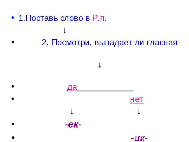 1.Поставь слово в Р.п. ↓ 2. Посмотри, выпадает ли гласная ↓ да____________ нет ↓ ↓ -ек- -ик-