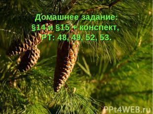 Домашнее задание: §14 и §15 + конспект, РТ: 48, 49, 52, 53.