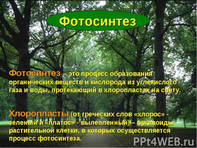 Фотосинтез Фотосинтез – это процесс образования органических веществ и кислорода из углекислого газа и воды, протекающий в хлоропластах на свету. Хлоропласты (от греческих слов «хлорос» - зеленый и «платос» - вылепленный) – органоиды растительной кл…