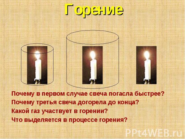 ГорениеПочему в первом случае свеча погасла быстрее? Почему третья свеча догорела до конца? Какой газ участвует в горении? Что выделяется в процессе горения?