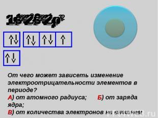 От чего может зависеть изменение электроотрицательности элементов в периоде? А)