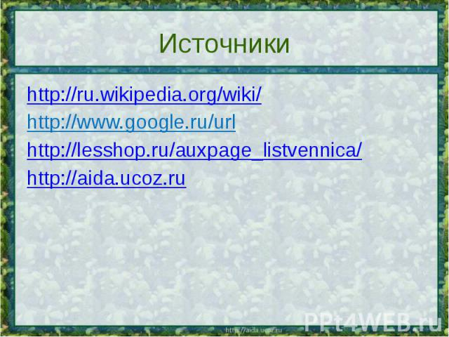 Источники http://ru.wikipedia.org/wiki/ http://www.google.ru/url http://lesshop.ru/auxpage_listvennica/ http://aida.ucoz.ru