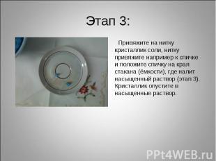 Этап 3: Привяжите на нитку кристаллик соли, нитку привяжите например к спичке и