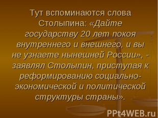 Тут вспоминаются слова Столыпина: «Дайте государству 20 лет покоя внутреннего и