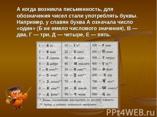 А когда возникла письменность, для обозначения чисел стали употреблять буквы. На