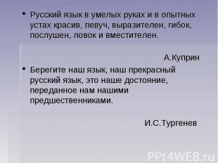 Русский язык в умелых руках и в опытных устах красив, певуч, выразителен, гибок,
