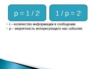 i – количество информации в сообщении. p – вероятность интересующего нас события