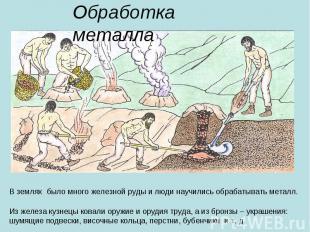 Обработка металла В землях было много железной руды и люди научились обрабатыват