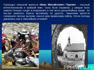 Руководил обороной крепости Иван Михайлович Пушкин – опытный военноначальник и х