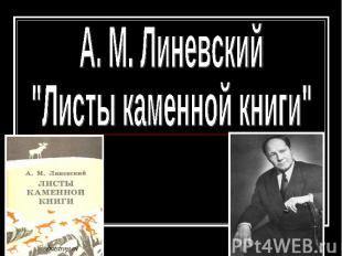 """А. М. Линевский """"Листы каменной книги"""""""