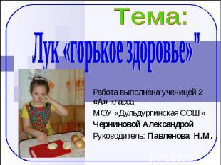 """Лук «горькое здоровье»"""" Работа выполнена ученицей 2 «А» класса МОУ «Дульдургинск"""