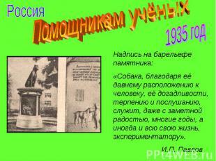 Помощникам учёных Надпись на барельефе памятника: «Собака, благодаря её давнему