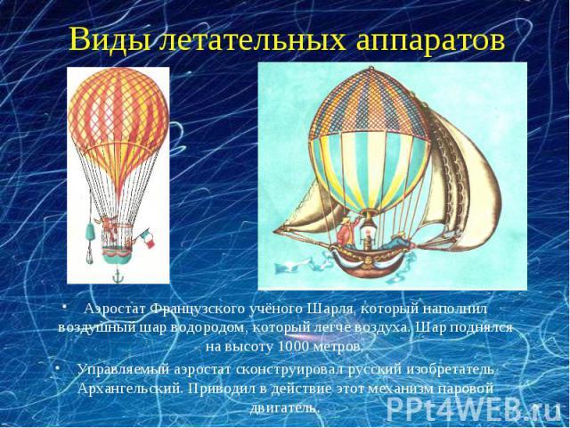 Виды летательных аппаратов Аэростат Французского учёного Шарля, который наполнил воздушный шар водородом, который легче воздуха. Шар поднялся на высоту 1000 метров. Управляемый аэростат сконструировал русский изобретатель Архангельский. Приводил в д…