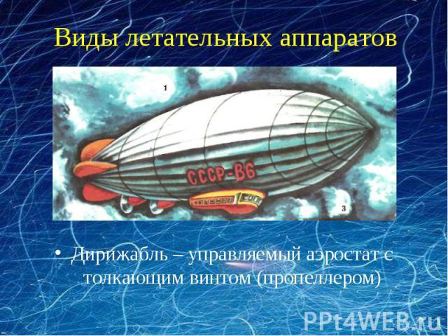 Виды летательных аппаратов Дирижабль – управляемый аэростат с толкающим винтом (пропеллером)
