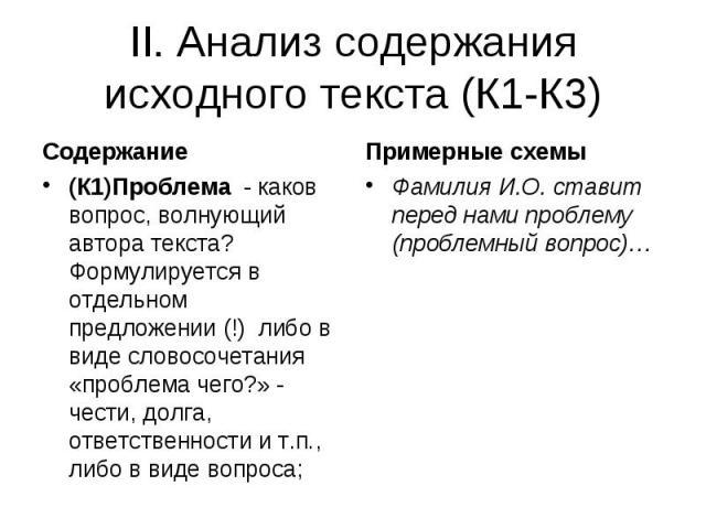 II. Анализ содержания исходного текста (К1-К3)(К1)Проблема - каков вопрос, волнующий автора текста? Формулируется в отдельном предложении (!) либо в виде словосочетания «проблема чего?» - чести, долга, ответственности и т.п., либо в виде вопроса; Фа…