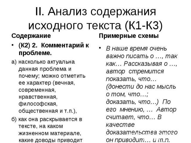 II. Анализ содержания исходного текста (К1-К3)(К2) 2. Комментарий к проблеме. а) насколько актуальна данная проблема и почему; можно отметить ее характер (вечная, современная, нравственная, философская, общественная и т.п.), б) как она раскрывается …