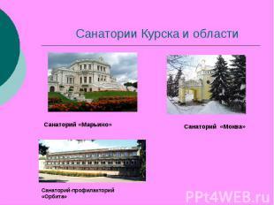 Санатории Курска и области Санаторий «Марьино» Санаторий «Моква» Санаторий-профи