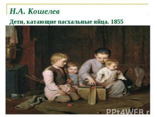 Н.А. Кошелев Дети, катающие пасхальные яйца. 1855