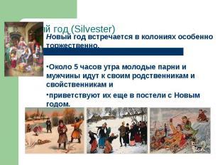 Новый год (Silvester) Новый год встречается в колониях особенно торжественно. Ок