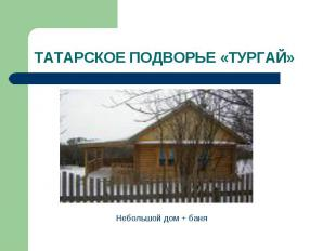 ТАТАРСКОЕ ПОДВОРЬЕ «ТУРГАЙ» Небольшой дом + баня