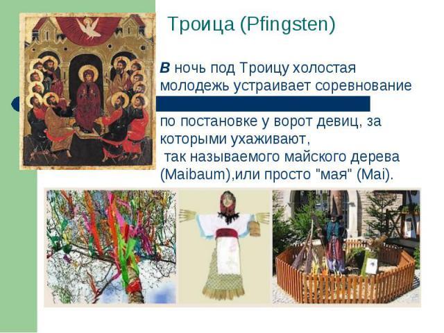 Троица (Pfingsten) Вночь под Троицу холостая молодежь устраивает соревнование по постановке у ворот девиц, за которыми ухаживают, так называемого майского дерева (Maibaum),или просто