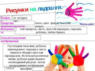 Рисунки на ладошки.или акварель, кисть, простой карандаш, ладошка ребенка, любая