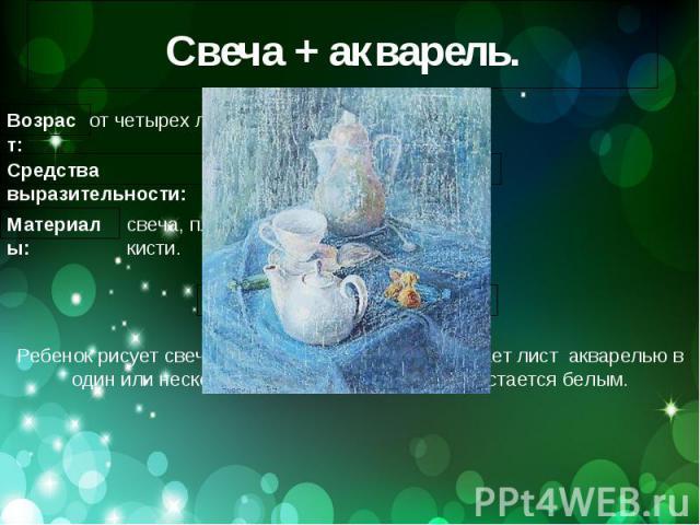 Свеча + акварель.Ребенок рисует свечой на бумаге. Затем закрашивает лист акварелью в один или несколько цветов. Рисунок свечой остается белым.