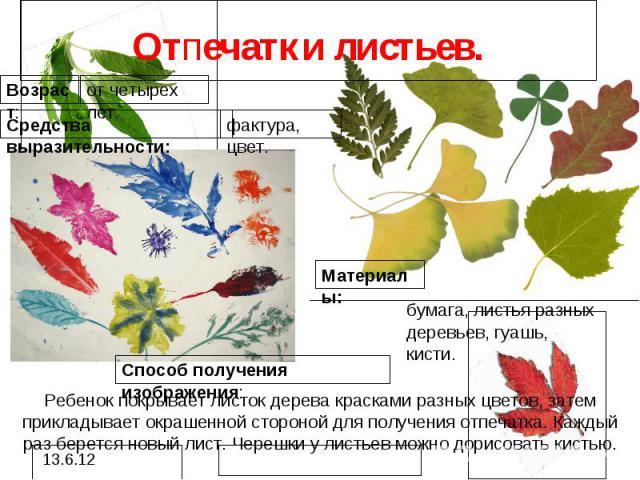 Отпечатки листьев.Ребенок покрывает листок дерева красками разных цветов, затем прикладывает окрашенной стороной для получения отпечатка. Каждый раз берется новый лист. Черешки у листьев можно дорисовать кистью.